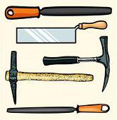 A set of 5 vector illustrations of tools.