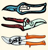 A set of 3 vector illustrations of gardening clippers. Check my portfolio for many more images.