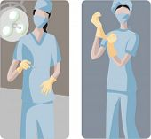 A set of 2 medical illustrations. 1) Surgeon making operation. 2) Surgeon preparing for operation.