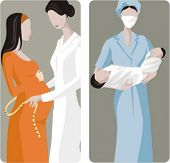 A set of 2 medical illustrations. 1) Midwive measures the belly of a pregnant woman. 2) Midwive hold