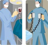 A set of 2 medical illustrations. 1) Surgeon preparing to give an injection. 2) Emergency case.
