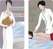 A set of 2 medical illustrations. 1) Nurse with stethoscope. 2) Doctor cheking a girl.