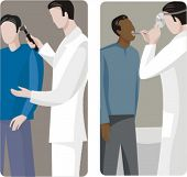 A set of 2 vector illustrations of general practitioners, examining the ears and throat of two patients.
