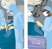 A set of 2 medical illustrations. Surgeons making operation.