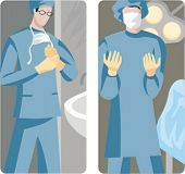 A set of 2 medical illustrations. Surgeons preparing for operation.