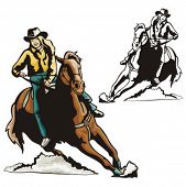pic of bareback  - Illustration of a rodeo cowgirl riding a saddled horse - JPG