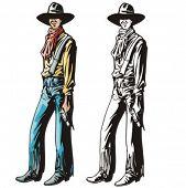 Illustration of a cowboy holding a pistol.