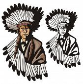 stock photo of indian chief  - Illustration of an indian - JPG