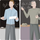 Teacher illustrations series.  1) Math teacher teaching a class in a class room. 2) Math teacher tea