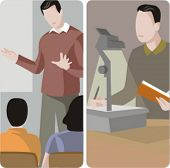 Teacher illustrations series.  1) General class teacher teaching a class in a classroom. 2) Teacher