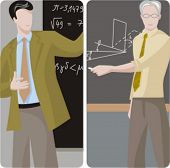 Teacher illustrations series.  1) Math teacher solving a mathematical problem. 2) Math teacher teach