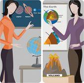 Teacher illustrations series.  1) Astronomy teacher teaching a class in a classroom. 2) Geography teacher teaching a lesson in a classroom.