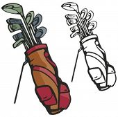 stock photo of golf bag  - Golf sticks with a bag - JPG