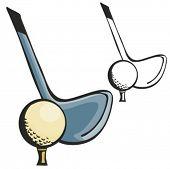 Close-up de bola e bastão de golf. Ilustração vetorial