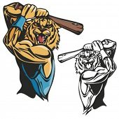 Tiger Baseball Mascot for sport teams. Great for t-shirt designs, school mascot logo and any other d