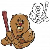 Bear Baseball Mascot for sport teams. Great for t-shirt designs, school mascot logo and any other design work. Ready for vinyl cutting.