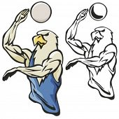 Eagle Volleyball Mascot. Great for t-shirt designs, school mascot logo and any other design work. Ready for vinyl cutting.