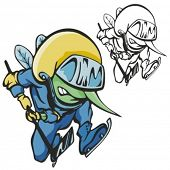 Fly Hockey Mascot. Great for t-shirt designs, school mascot logo and any other design work. Ready for vinyl cutting.
