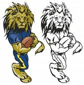 Lion Football Mascot. Great for t-shirt designs, school mascot logo and any other design work. Ready