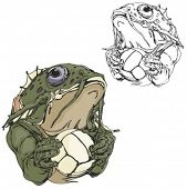 Frog Volleyball Mascot for sport teams. Great for t-shirt designs, school mascot logo and any other design work. Ready for vinyl cutting.