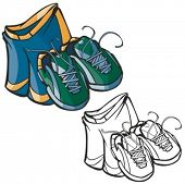 Sport shoes and shorts. Vector illustration