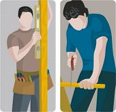 A set of 2 vector illustrations of carpenters.  1) Carpenter using a spirit level. 2) Carpenter cutting a wooden plank with a handsaw.