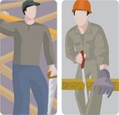 A set of 2 vector illustrations of carpenters cuting wood planks with a handsaw.