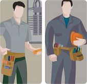 A set of 2 vector illustrations of electricians.
