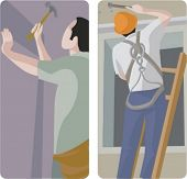 A set of 2 vector illustrations of builders using hammers.
