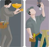 A set of 2 vector illustrations of electricians changing light bulbs.