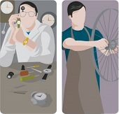 A set of 2 vector illustrations of workers. 1) Watchmaker working on a watch. 2) Worker repairing a