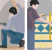 A set of 2 vector illustrations of a workers. 1) Worker making a plaster. 2) Worker installing tiles.