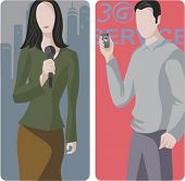 A set of 2 vector worker illustrations. 1) News reporter. 2) 3G service.