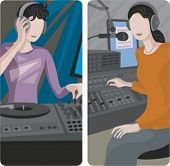 A set of 2 vector illustrations of sound mixing operators.