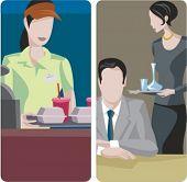 A set of 2 vector illustrations. 1) Fast food restaurant. 2) Waitress serving drinks.