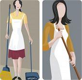 Un conjunto de 2 ilustraciones vectoriales de limpiadores.