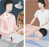 A set of 2 vector worker illustrations of manicure and massage.