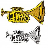 Music Instrument Series. Vector illustration of a horn.