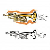Music Instrument Series. Vector illustration of a cornet.
