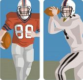 Sport illustrations series. A set of 2 american football illustrations.