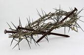 Isolated Crown Of Thorns And Nails