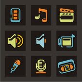 Web icons set. Audio and video. Mail and communication. Check my portfolio for much more of this ser