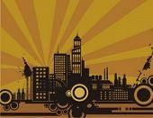 Sonnenuntergang Stadtansicht-Kontur-Hintergrund-Serie. Überprüfen Sie mein Portfolio für viel mehr von dieser Serie.
