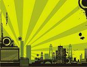 Sunrise Stadtbild Kontur-Hintergrund-Serie. Überprüfen Sie mein Portfolio für viel mehr von dieser Serie als w