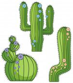 Vector flowering cactus designs in a single style. Check my portfolio for more of this series as well as thousands of other great vector items.