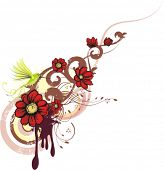 Abstract floral design with a bunch of flowers and a humming bird, vector illustration series.
