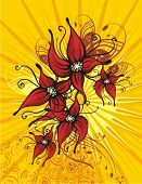 Blumen Hintergrund mit Lightrays und Grunge-Details, Vektor-Illustration-Serie.
