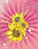 Blumen Hintergrund mit Sonnenblumen, Lichtstrahlen und Grunge-Details, Vektor-Illustration-Serie.