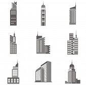 Vectorillustraties van wolkenkrabbers. Geweldig designelementen voor verschillende projecten!