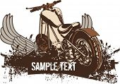 Vector grunge background with a hot rod motorcycle.